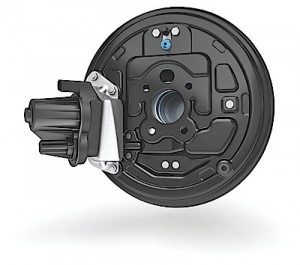 New design for drum-in-hat electric parking brake.