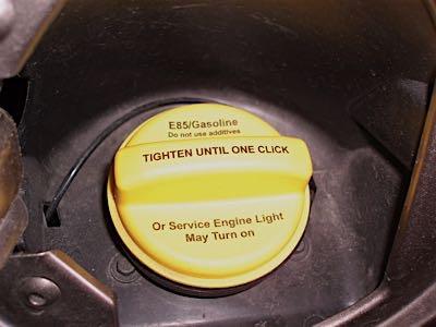flex fuel cap yellow gasoline